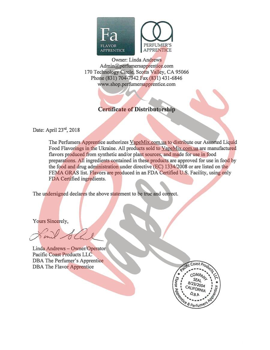 Сертификат TPA официального дистрибьютора Vapemix